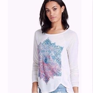 LUCKY BRAND Cream Ivory Mandala 3/4 Sleeve Tee Top